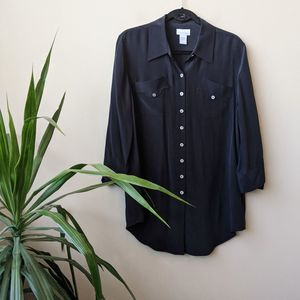 Soft Surroundings Black Button Down Silk Tunic, L